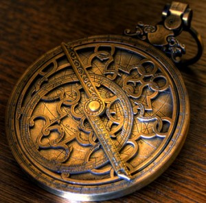 Astrolabe on wood
